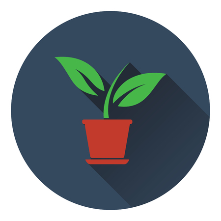 Plant in flower pot icon. Flat design. Vector illustration.