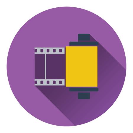 35 mm: Photo cartridge reel icon. Flat design. Vector illustration.