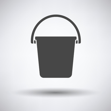 Icon of bucket on gray background with round shadow. Vector illustration.