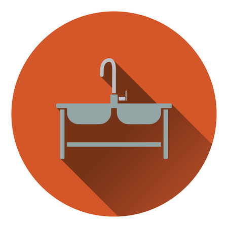double sink: Double sink icon. Flat design. Vector illustration.