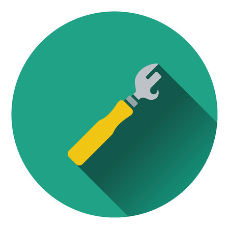 opener: Can opener icon. Flat design. Vector illustration.