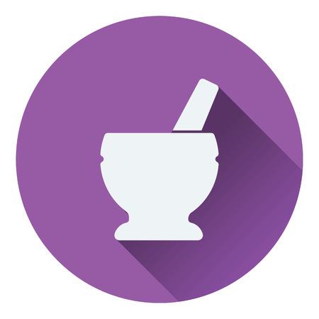 chinaware: Mortar and pestle icon. Flat design. Vector illustration. Illustration