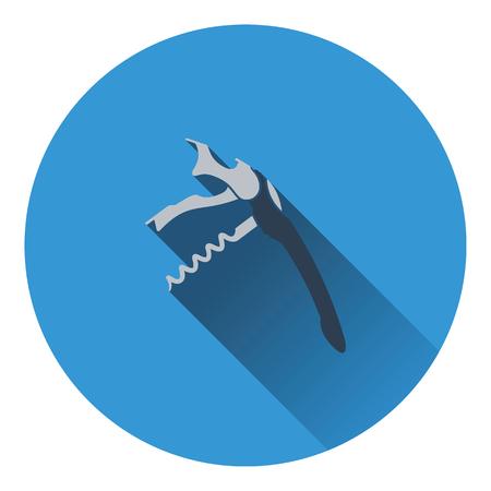 sommelier: Waiter corkscrew icon. Flat design. Vector illustration. Illustration