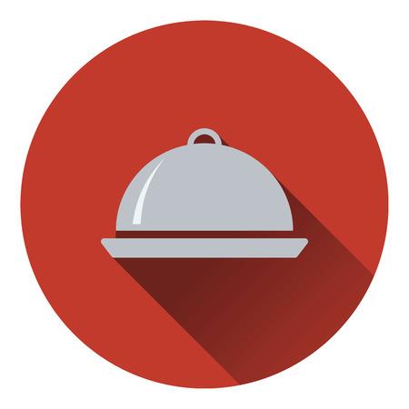 platter: Restaurant  cloche icon. Flat design. Vector illustration.