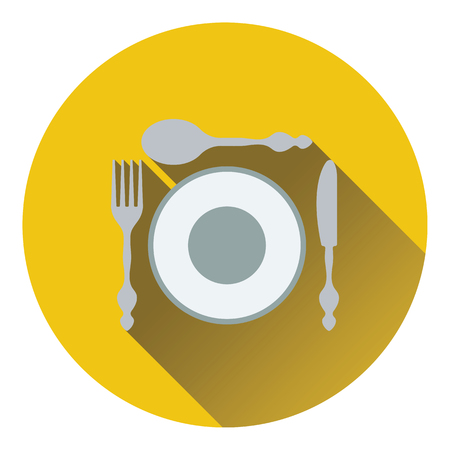 silverware: Silverware and plate icon. Flat design. Vector illustration.
