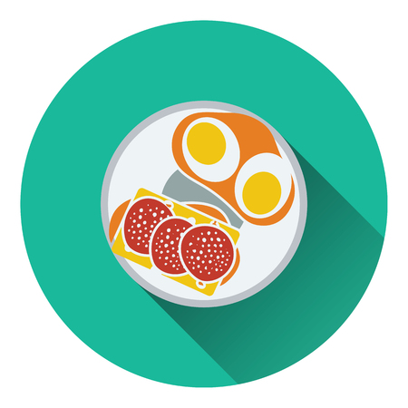 omlet: Omlet and sandwich icon. Flat design. Vector illustration.