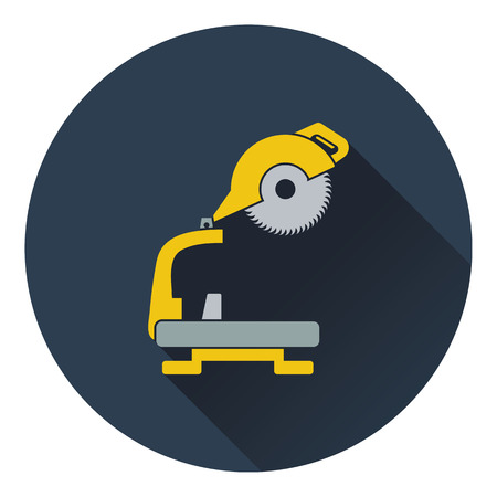 handtool: Icon of circular end saw. Flat design. Vector illustration.