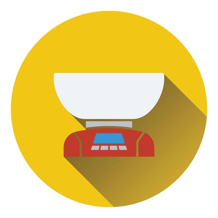 freestanding: Kitchen electric scales icon. Flat design. Vector illustration.