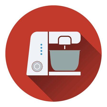 processor: Kitchen food processor icon. Flat design. Vector illustration. Illustration