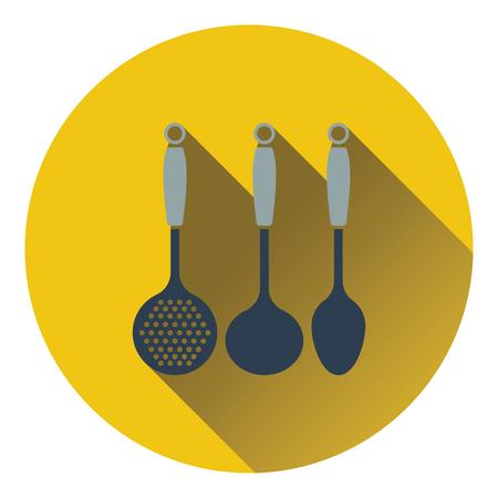 masher: Ladle set icon. Flat design. Vector illustration.