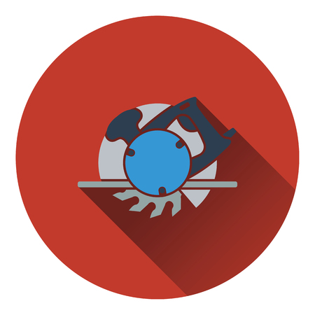 handtool: Icon of circular saw. Flat design. Vector illustration.