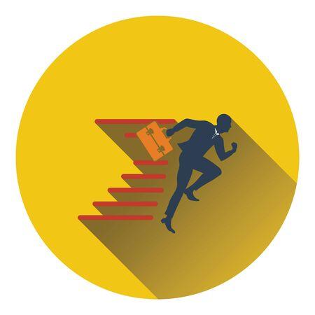 accelerating: Icon of Accelerating businessman. Flat design. Vector illustration.