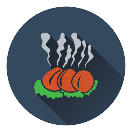 roast lamb: Smoking cutlet icon. Flat design. Vector illustration.