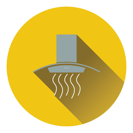 aspirator: Kitchen hood icon. Flat design. Vector illustration.