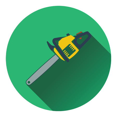 chain saw: Icon of chain saw. Flat design. Vector illustration.