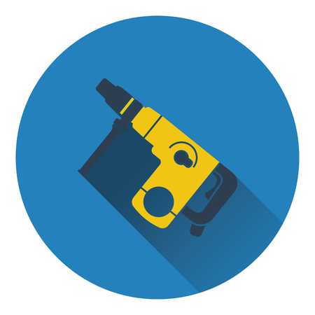 puncher: Icon of electric perforator. Flat design. Vector illustration.