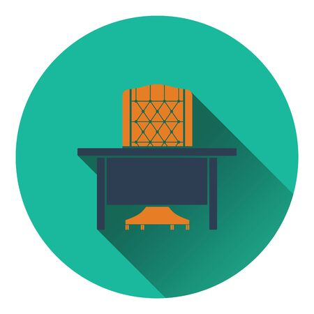 circle icon: Icon of Table and armchair. Flat design. Vector illustration. Illustration
