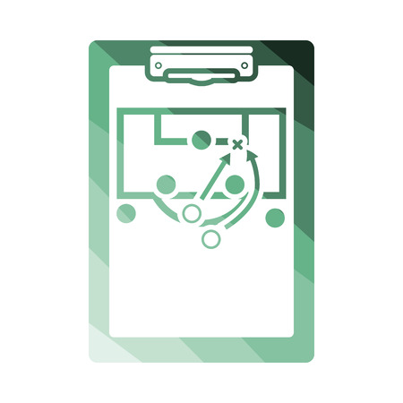 soccer coach: Soccer coach tablet with scheme of game icon. Flat color design. Vector illustration. Illustration