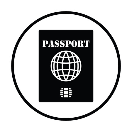 citizens: Passport with chip icon. Thin circle design. Vector illustration.