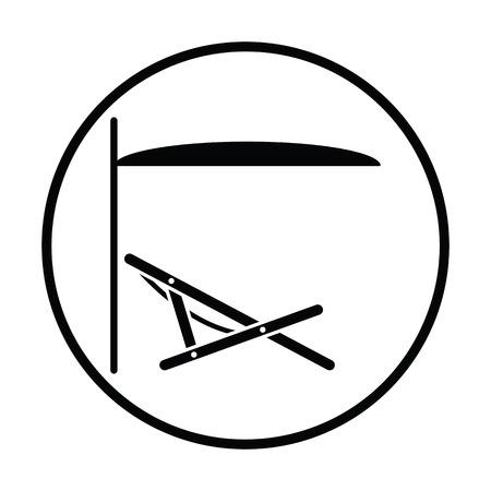 recline: Sea beach recliner with umbrella icon. Thin circle design. Vector illustration.