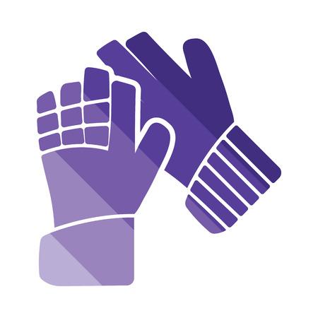 portero de futbol: F�tbol icono de guantes de portero. dise�o de color plano. Ilustraci�n del vector. Vectores