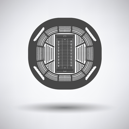 american football stadium: American football stadium birds-eye view icon on gray background with round shadow. Vector illustration.