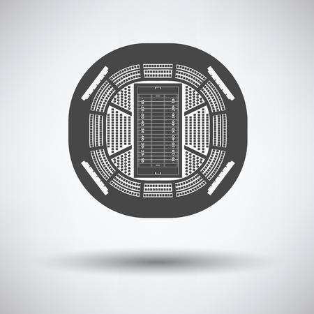 American football stadium bird's-eye view icon on gray background with round shadow. Vector illustration. Ilustracja