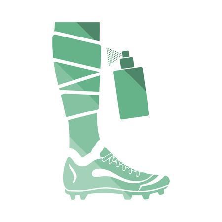 anesthetic: Soccer bandaged leg with aerosol anesthetic icon. Flat color design. Vector illustration.