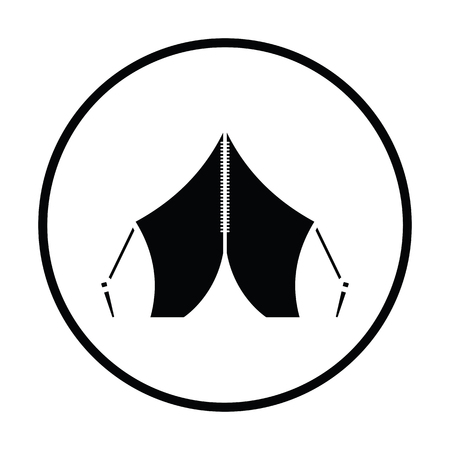 refuge: Touristic tent icon. Thin circle design. Vector illustration.
