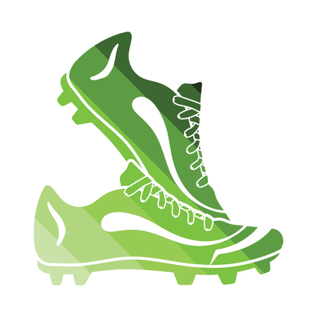 football shoes: Pair soccer of boots  icon. Flat color design. Vector illustration.