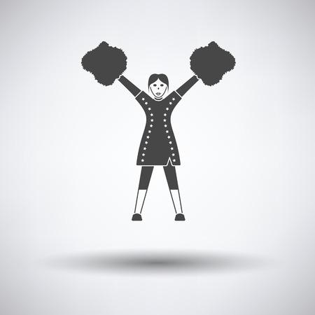 pep: American football cheerleader girl icon. Vector illustration.