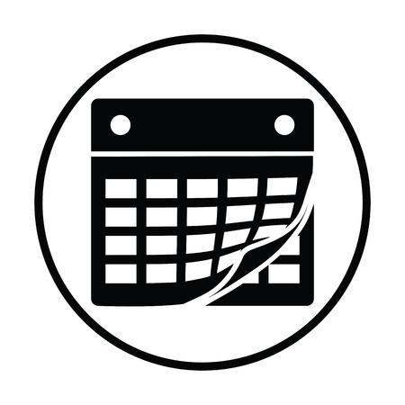 calendar icon: Calendar icon. Thin circle design. Vector illustration.