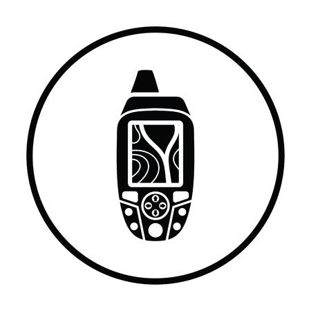 waypoint: Portable GPS device icon. Thin circle design. Vector illustration. Illustration