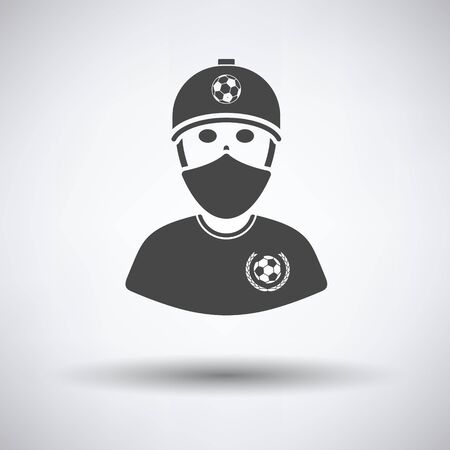 football fan: Football fan with covered  face by scarf icon on gray background, round shadow. Vector illustration.