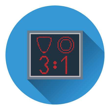linesman: Icon of football scoreboard. Flat color design. Vector illustration.