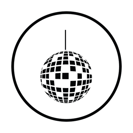 sphere icon: Party disco sphere icon. Thin circle design. Vector illustration. Illustration