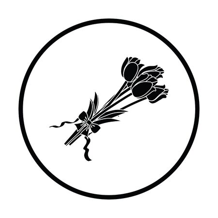 tied: Tulips bouquet icon with tied bow. Thin circle design. Vector illustration.