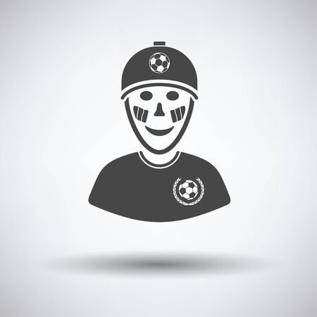football fan: Football fan with painted face by italian flags icon on gray background, round shadow. Vector illustration.