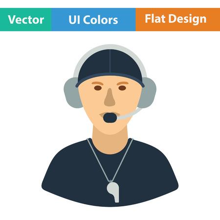 football coach: American football coach icon. Flat color design. Vector illustration.