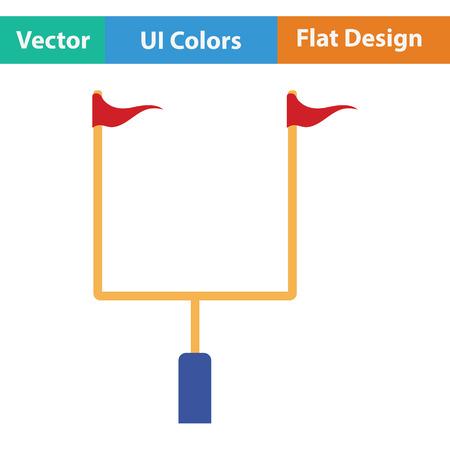 football goal post: American football goal post icon. Flat color design. Vector illustration.