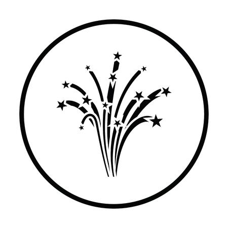 lucero: Fireworks icon. Thin circle design. Vector illustration. Vectores