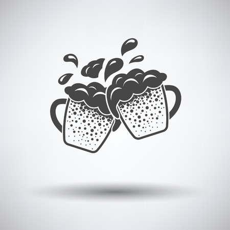 clinking: Two clinking beer mugs with fly off foam icon on gray background, round shadow. Vector illustration.