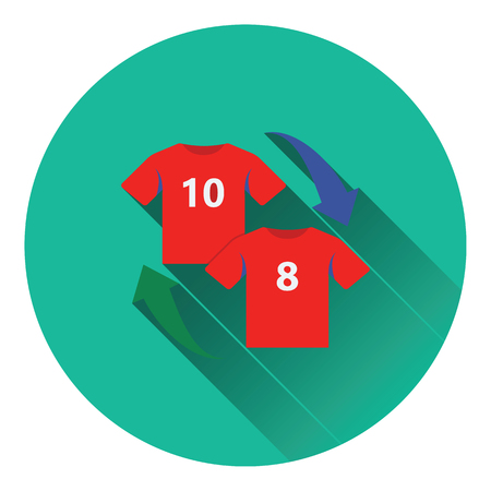 replace: Icon of football replace . Flat color design. Vector illustration.