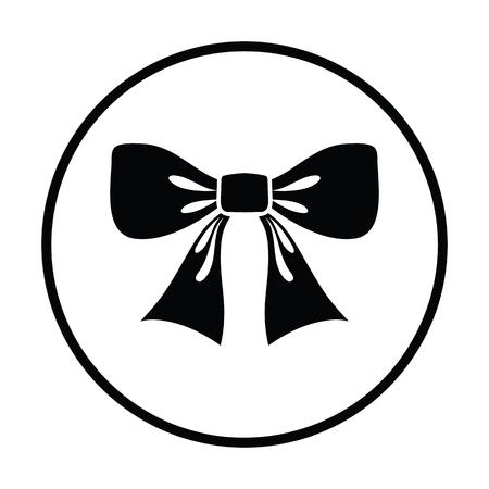 lazo regalo: Partido del arco icono. diseño del círculo delgada. Ilustración del vector. Vectores