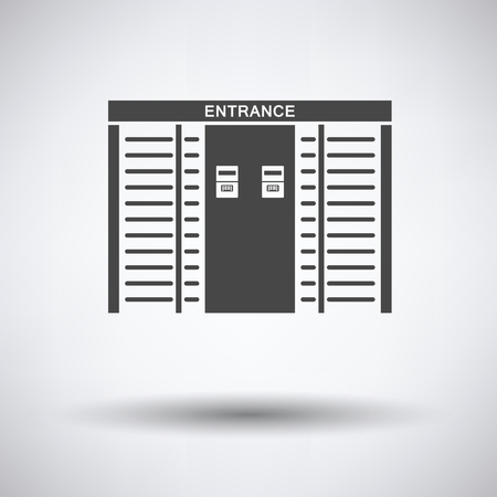 single entry: Stadium entrance turnstile icon on gray background, round shadow. Vector illustration.
