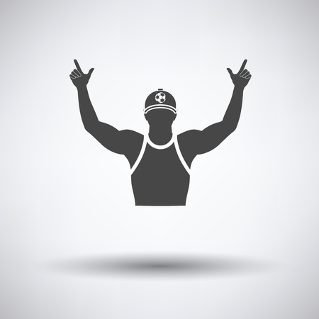 cheer up: Football fan with hands up icon on gray background, round shadow. Vector illustration. Illustration