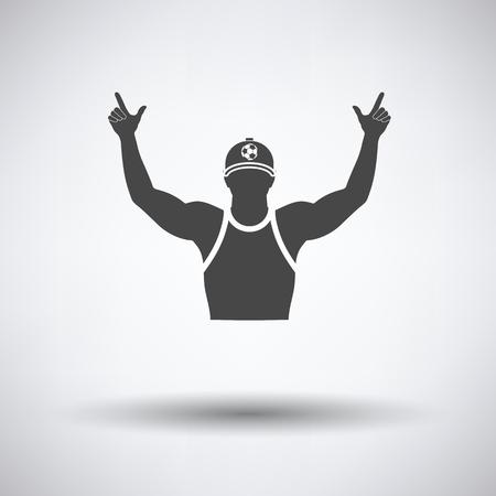 Voetbalfan met handen omhoog pictogram op een grijze achtergrond, ronde schaduw. Vector illustratie.