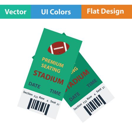 American football tickets icon. Flat color design. Vector illustration.