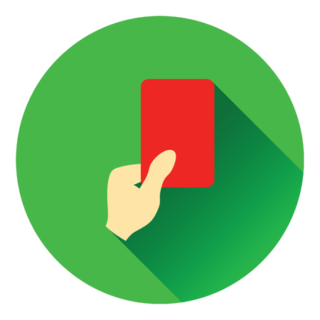 football referee: Icon of football referee hand with red card. Flat color design. Vector illustration.