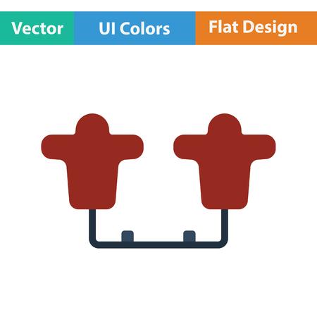tackling: American football  tackling sled icon. Flat color design. Vector illustration. Illustration